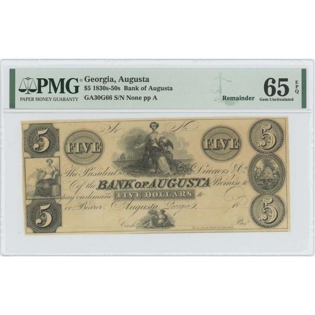 1830-40s $5 Bank of Augusta Georgia Obsolete GA30G66 PMG 65 Gem EPQ