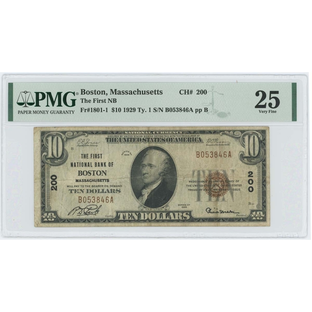 1929 TY 1 $10 First NB Boston Massachusetts CH#200 PMG VF25