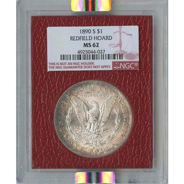1890-S $1 Morgan Silver Dollar Redfield hoard NGC MS62