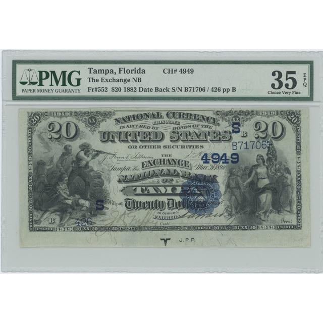 Exchange B. Tampa Florida CH#4949 1882 Date Back Set PMG $5 $10 $20 VF35-53 EPQ