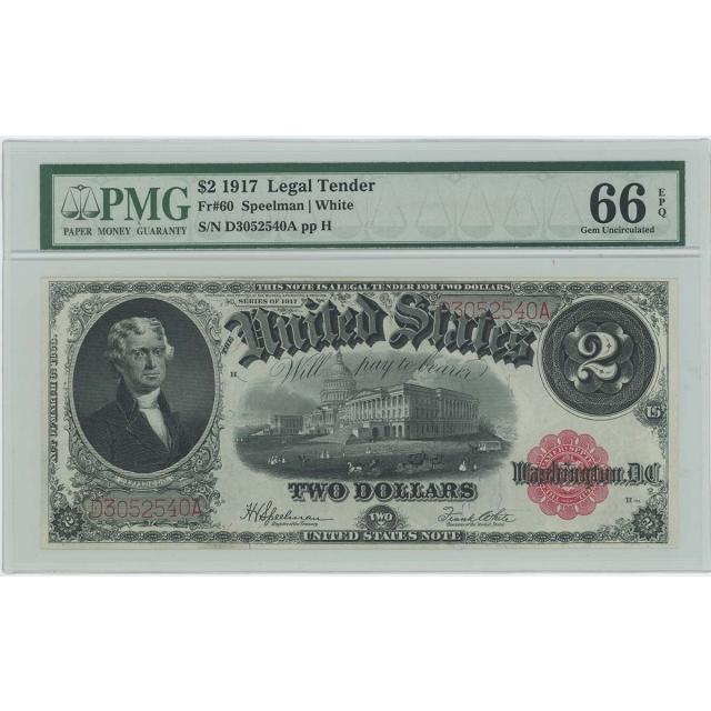 1917 $2 Legal Tender FR#60 PMG Gem 66 EPQ