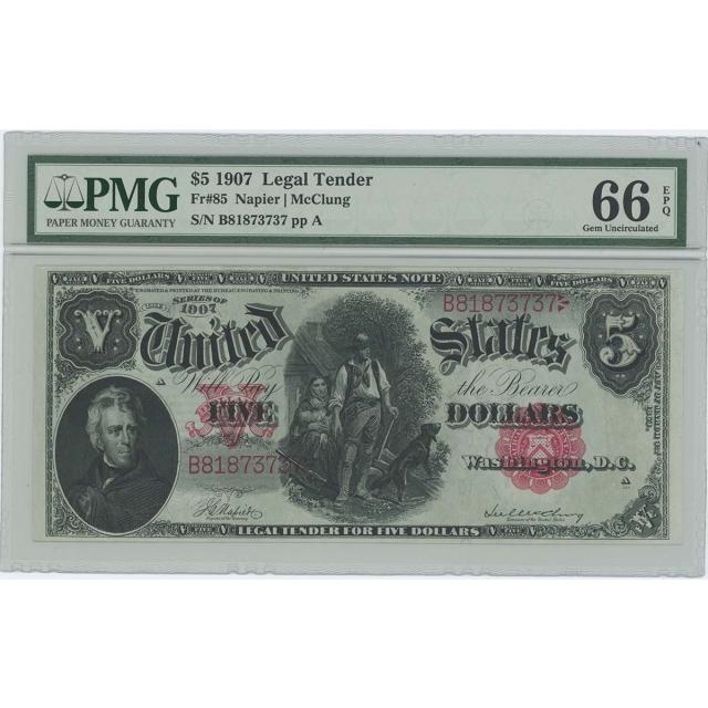 1907 $5 Legal Tender FR#85 PMG Gem 66 EPQ Napier McClung