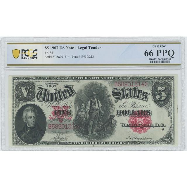 1907 $5 Legal Tender FR#85 PCGS Banknote Gem 66 PPQ