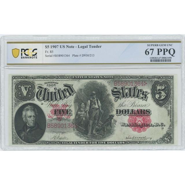 1907 $5 Legal Tender Note FR#85 PCGS Banknote Superb Gem Unc 67
