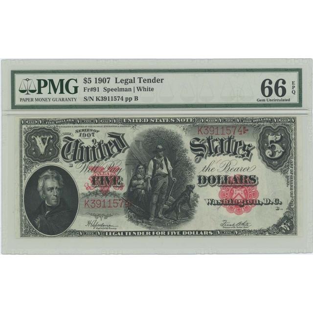 1907 $5 Legal Tender Note FR#91 PMG GEM 66 EPQ