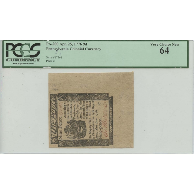 Apr 25, 1776 9 Pence PA-200 Pennsylvania Colonial Currency PCGS Very CH New 64