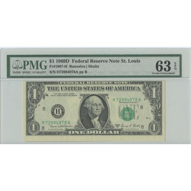 1969D $1 FRN St Louis FR#1907-H PMG 63 CH Unc EPQ Misalignment ERROR