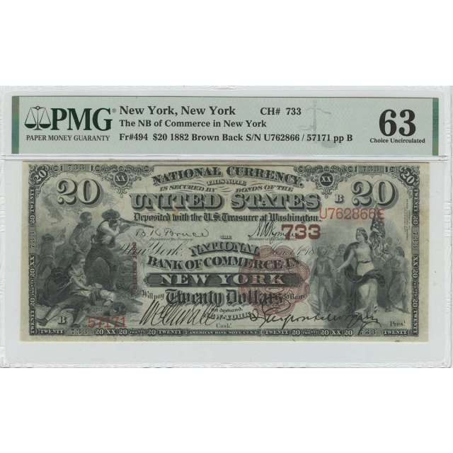 1882 $20 Brown Back National Commerce New York PMG CU63