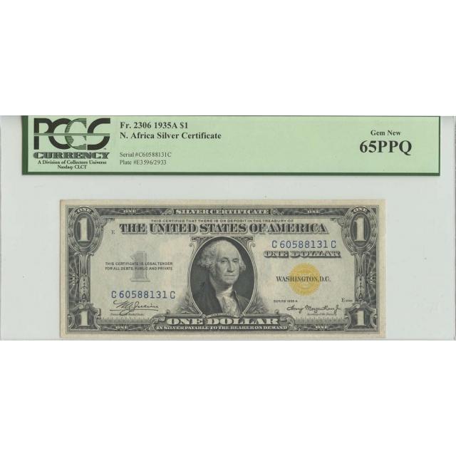 1935A $1 North Africa PCGS 65 Gem UNC EPQ FR#2306 CC Block WWII