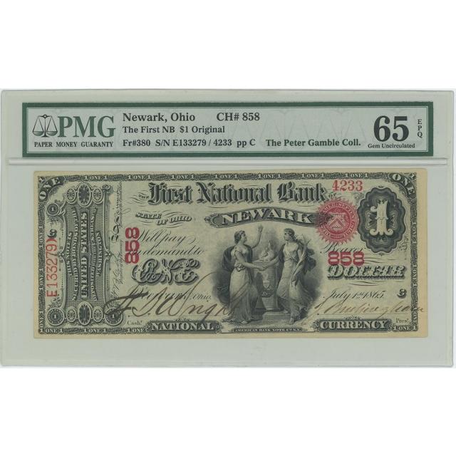 1865 $1 National Newark Ohio CH# 858 FR#380 PMG Gem 65 EPQ Original