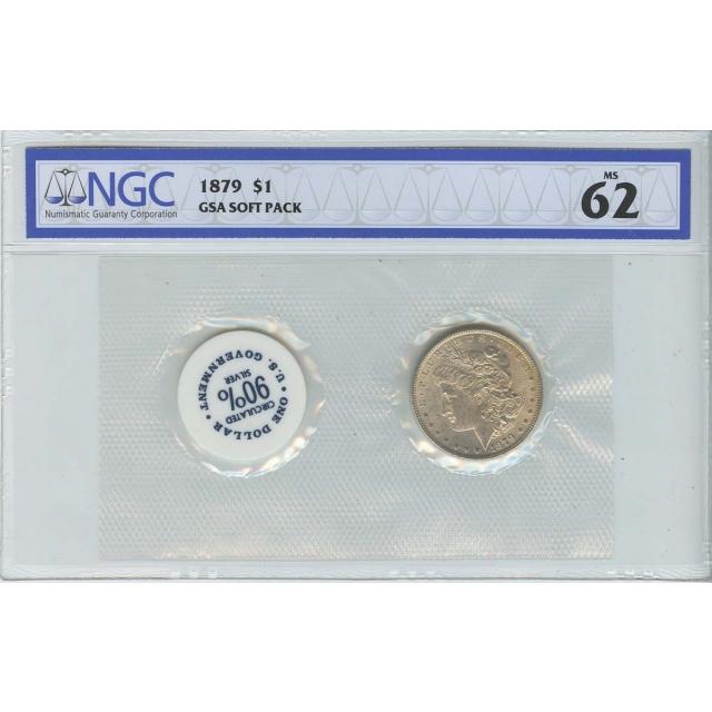 1879 Morgan Dollar GSA SOFT PACK S$1 NGC MS62