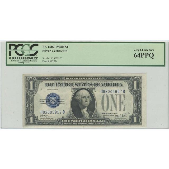 1928B $1 Silver Certificate  FR#1602 PCGS 64 Very CH New PPQ