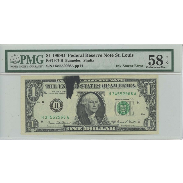 1969D $1 FRN St. Louis FR#1907-H PMG CH AU EPQ Ink Smear ERROR