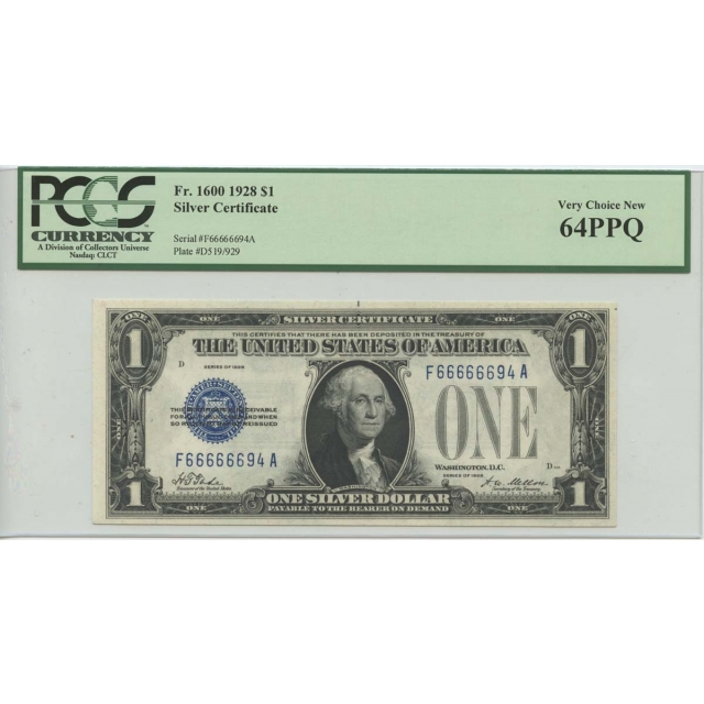 1928 $1 Silver Cert. PCGS CHNew 64 PPQ Serial Num 66666694 FR 1600