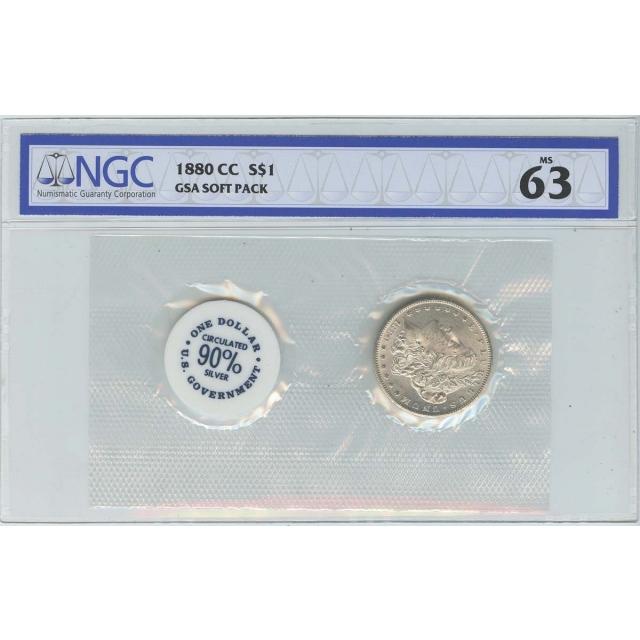 1880-CC Morgan Dollar GSA SOFT PACK S$1 NGC MS63