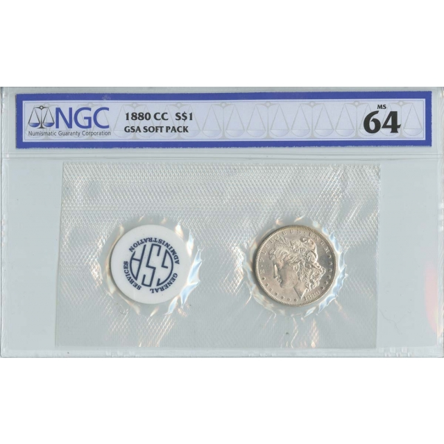 1880-CC Morgan Dollar GSA SOFT PACK S$1 NGC MS64