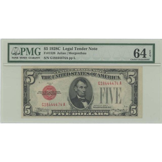 1928C $5 Legal Tender FR#1528 PMG 64 CH UNC EPQ