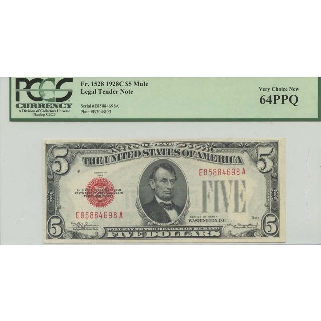 1928C $5 Legal Tender FR#1528 PCGS 64 PPQ Mule Very Choice