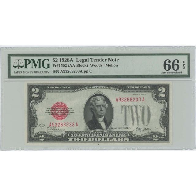 1928A $2 Legal Tender FR#1502 PMG 66 EPQ GEM