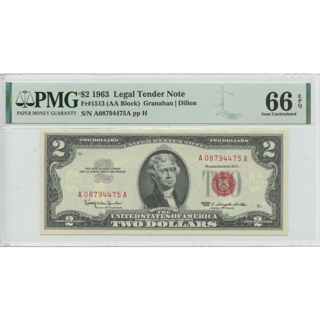 1963 $2 Legal Tender FR#1513 PMG66 Gem EPQ AA BLOCK