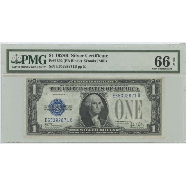 1928B $1 Silver Cert FR#1602 (EB BLOCK) PMG 66 Gem UNC EPQ