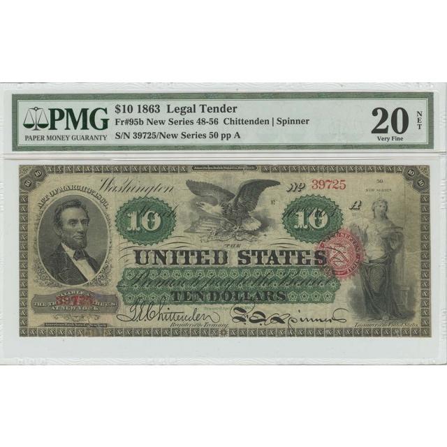1863 $10 Legal Tender ABNC Chittenden Spinner Fr# 95b PMG VF20 NET Lincoln