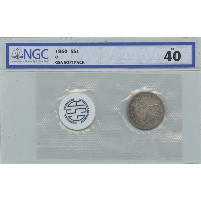 1860-O Seated Liberty - No Motto GSA SOFT PACK S$1 NGC XF40