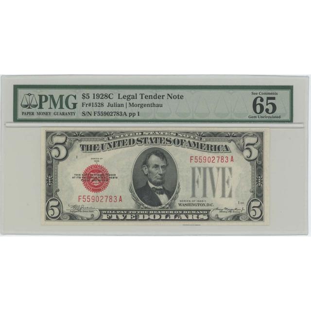 1928C $5 Legal Tender FR#1528 PMG 65 Gem UNC EPQ