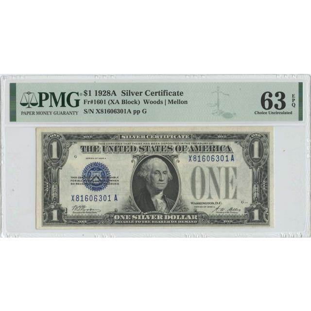 1928A $1 Silver Certificate Blue Seal FR#1601 PMG 63 EPQ