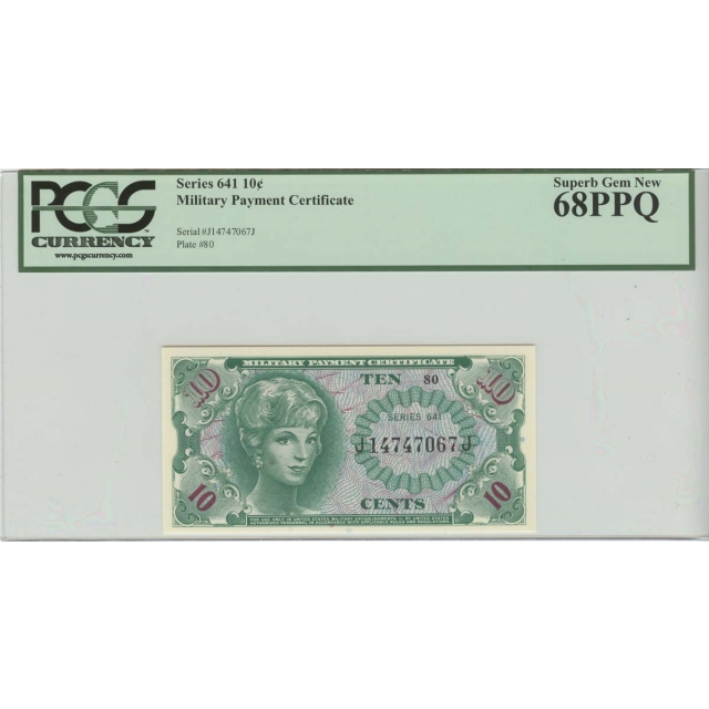 10 Cent Military Payment Series 641 PCGS MS68 PPQ Superb Gem