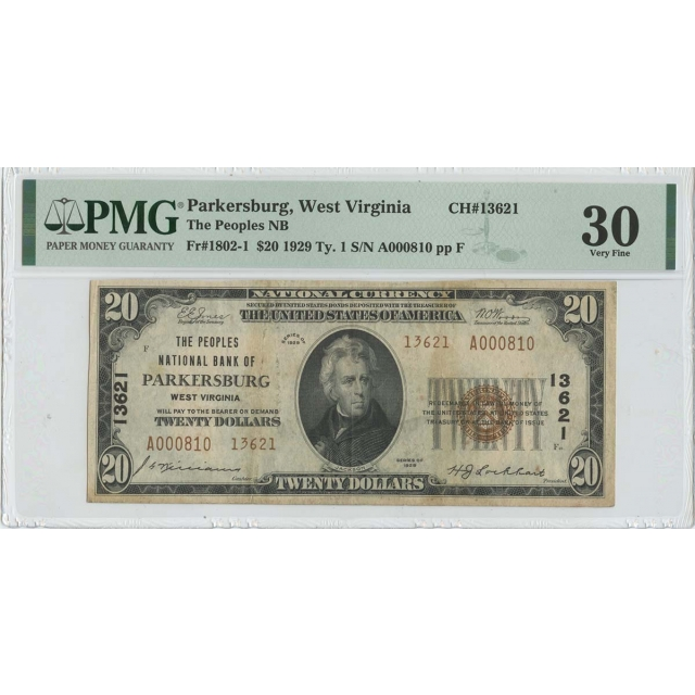 1929 $20 TY1 Parkersburg West Virginia Peoples Bank CH#13621 PMG 30 VF