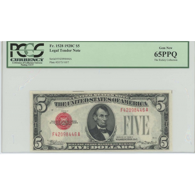 1928C $5 Legal Tender FR#1528 PCGS 65 Gem New PPQ