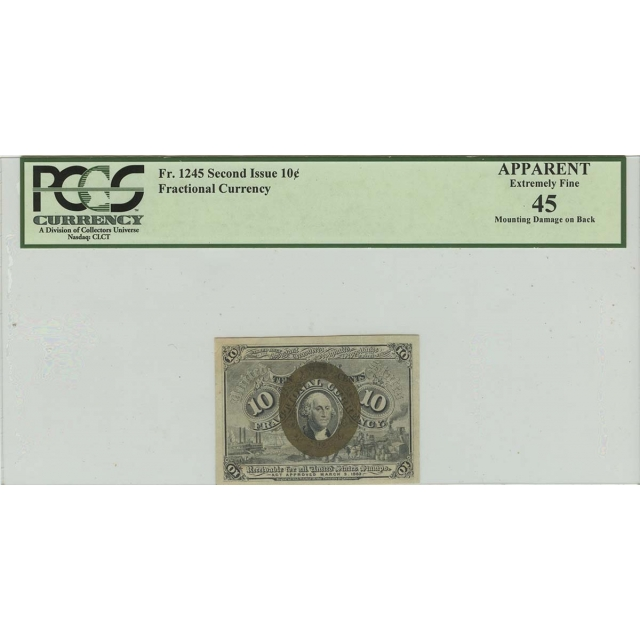 Second Issue 10C Fractional Currency FR#1245 PCGS XF45 Apparent