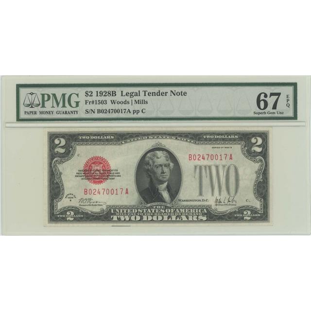 1928B $2 Legal Tender FR#1503 PMG 67 EPQ SUPERB GEM