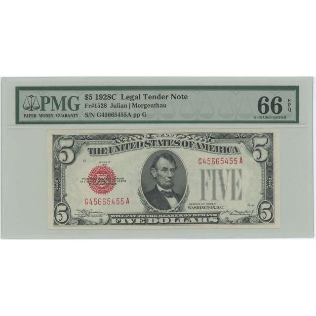 1928C $5 Legal Tender FR#1528 PMG 66 Gem UNC EPQ