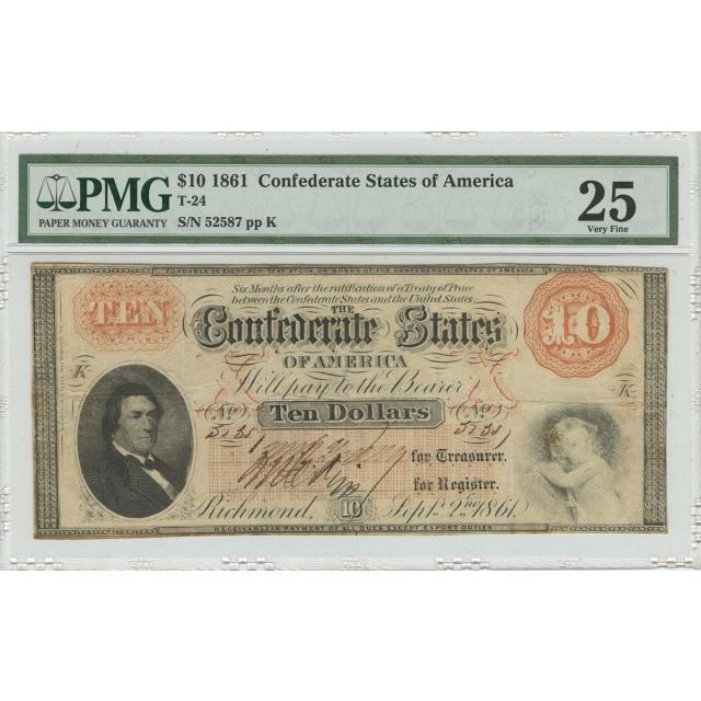 1861 $10 Confederate States of America T-24 PMG VF25