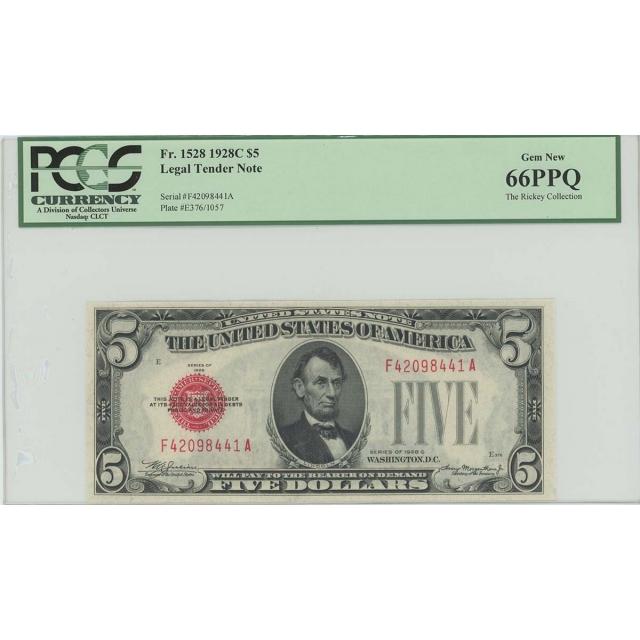 1928C $5 Legal Tender FR#1528 PCGS 66 Gem New PPQ