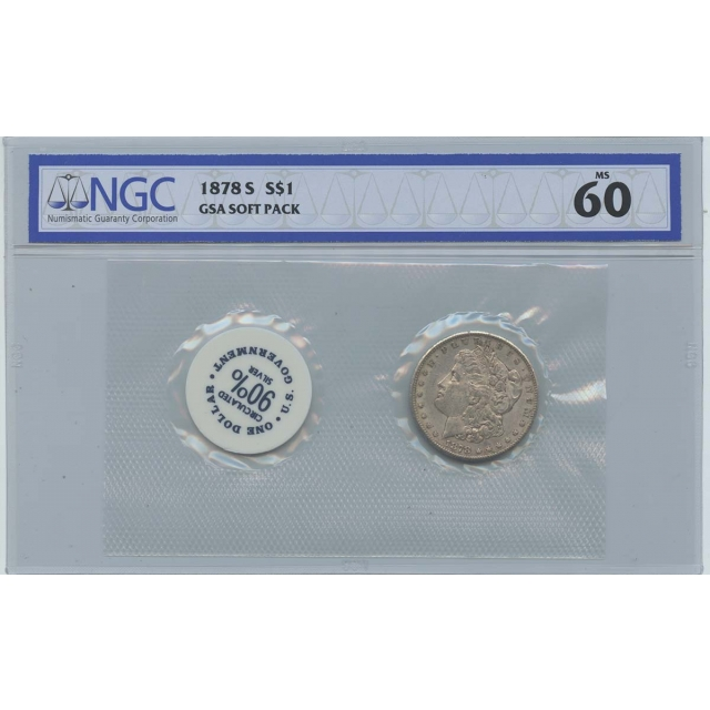 1878-S Morgan Dollar GSA SOFT PACK S$1 NGC MS60