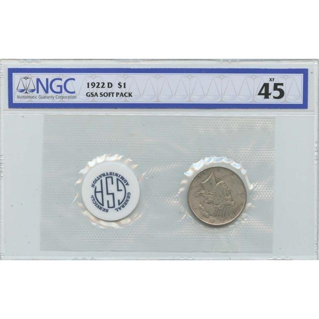 1922 D Peace Dollar GSA SOFT PACK S$1 NGC XF45