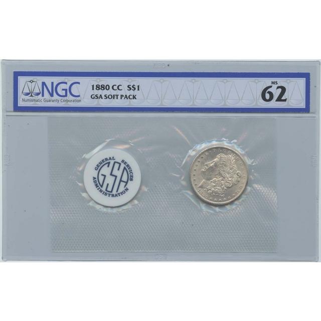 1880-CC Morgan Dollar GSA SOFT PACK S$1 NGC MS62