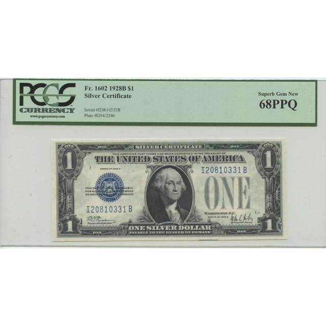 1928B $1 Silver Cert FR#1602 PCGS 68 Superb Gem New PPQ POP 15