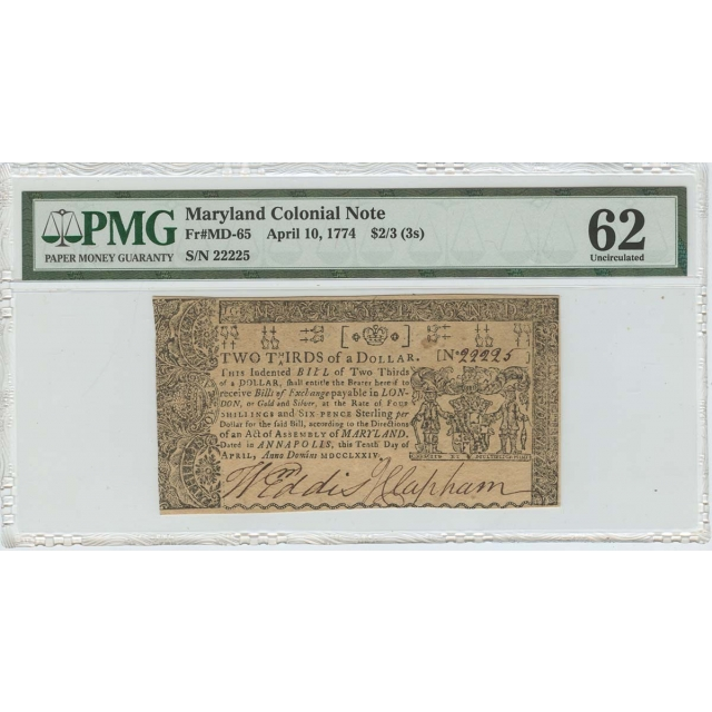 1774 April 10 Maryland Colonial FR#MD-65 $2/3 (3s) PMG 62 Unc