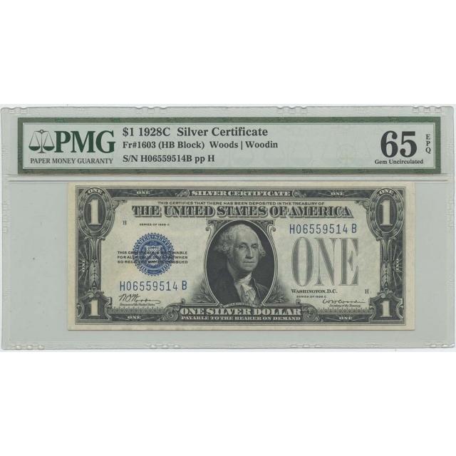 1928C $1 Silver Cert FR#1603 (HB Block) PMG 65 Gem UNC EPQ