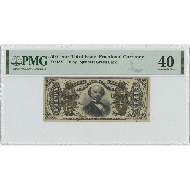 Third Issue 50 Cents Fractional Green Back FR#1339 PMG 40