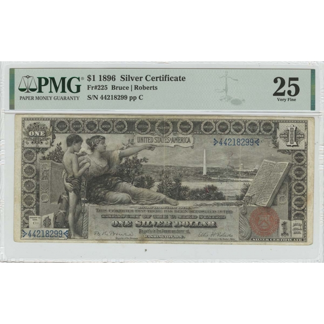 1896 $1 Silver Certificate Small Red Bruce Roberts Fr# 225 PMG VF25