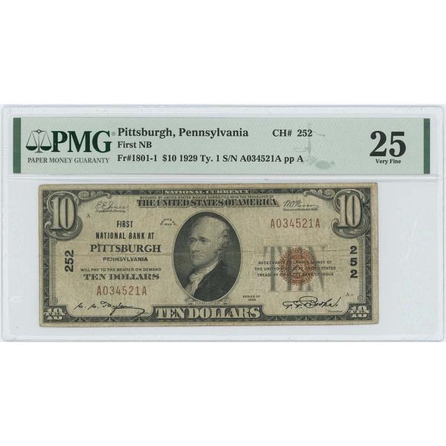 1929 $10 TY 1 First NB Pittsburgh Pennsylvania CH# 252 PMG VF 25