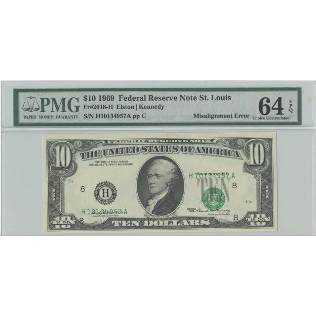 1969 $10 FRN St Louis FR#2018-H PMG 64 CH Unc EPQ Misalignment ERROR