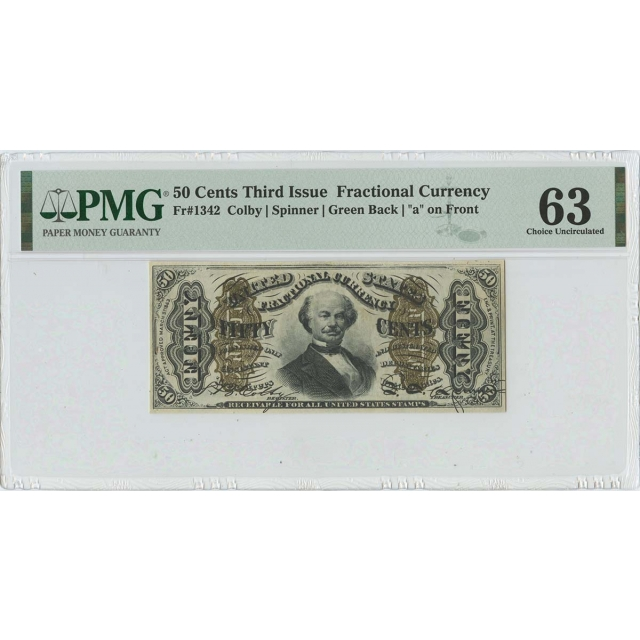 Third Issue 50 Cents Fractional Green Back FR#1342 PMG 63