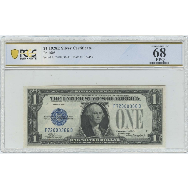 1928 E $1 Silver Certificate PCGS Banknote Superb Gem 68 PPQ FR# 1605
