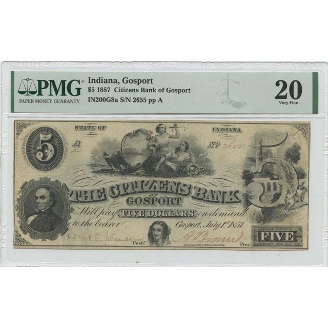 1857 $5 Indiana Gosport Haxby# OBSIN200G8a PMG VF20
